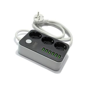 SE3631 3 EU Plug + 6 USB plug Max 2500W 1.6M Crni